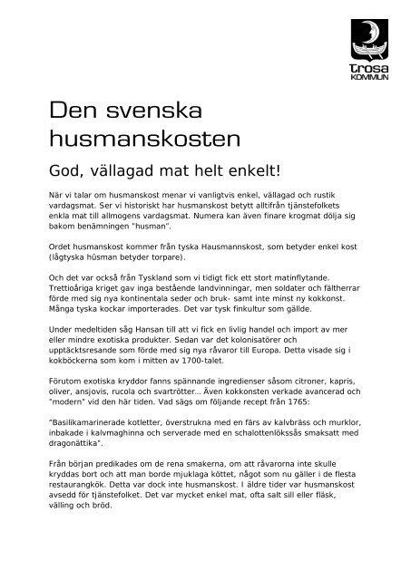 Den svenska husmanskosten
