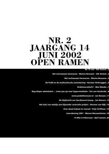 NR. 2 JAARGANG 14 JUNI 2002 OPEN RAMEN - PvdA Hilversum