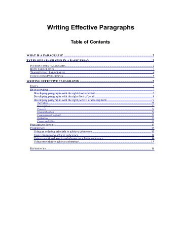 Writing Effective Paragraphs What is a paragraph? - Write Site