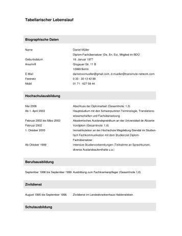 lebenslauf stand mrz 2007 pdf 28kb transmute - Tabellarischer Lebenslauf Pdf