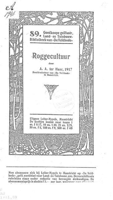 beschreven in 1917 door Ter Haar - De Oerakker