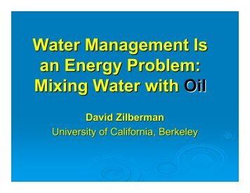 Water for Food, Energy, and the Environment - Agricultural and ...