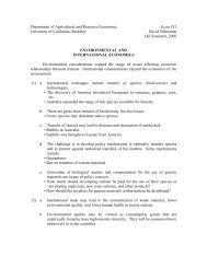 Handout - Agricultural and Resource Economics - University of ...