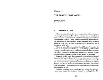 Parsons, George. R., The Travel Cost Model, Chapter 9.