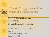 Climate Change, agriculture Water and Infrastructure