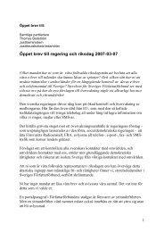 Öppet brev till regering och riksdag 2007-03-07 - Sveriges ...
