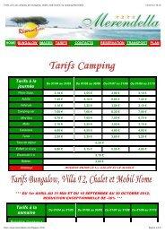 Tarifs, prix, du camping, des bungalow, chalet, mobil home, du ...