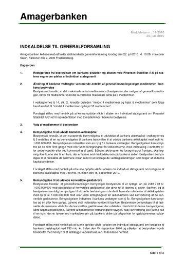 Indkaldelse af ekstraordinær generalforsamling i juli - Hjem
