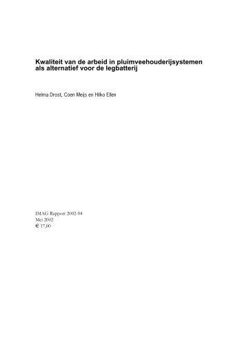 Kwaliteit van de arbeid in pluimveehouderijsystemen als alternatief