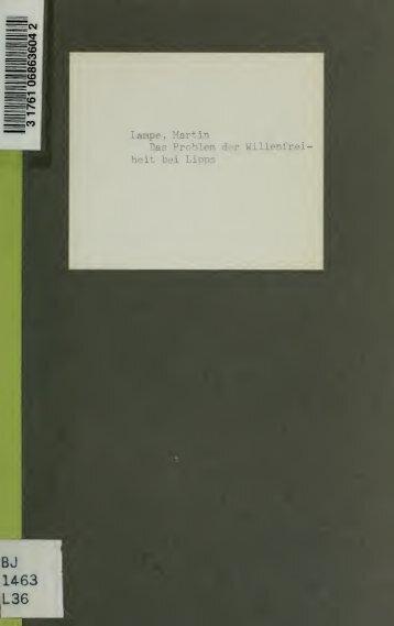 Das Problem der Willensfreiheit bei Lipps, Eucken, Windelband, v ...