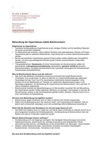 Behandlung Hyperhidrose - Hautarzt Bern Bubenberg