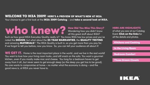 WHO KNEW - IKEA 2009 CATALOG EVENT - Ikea Fans