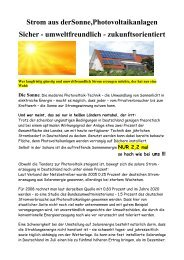 Strom aus derSonne,Photovoltaikanlagen Sicher - umweltfreundlich ...