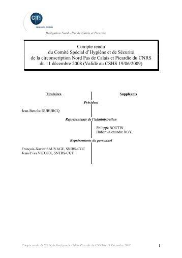 Compte rendu du Comité Spécial d'Hygiène et de Sécurité ... - CNRS