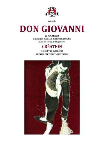 Télécharger le dossier Don Giovanni - Opéra de Poche