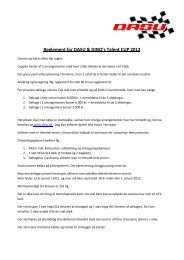 Reglement for DASU & DINO's Talent CUP 2012