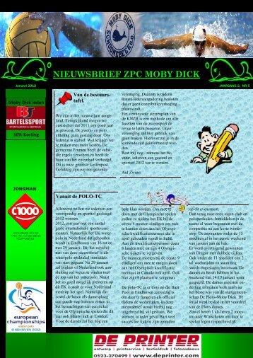 ZPC Moby Dick Nieuwsbrief Januari 2012