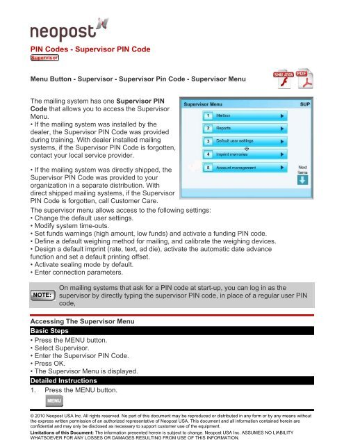 PIN Codes - Supervisor PIN Code - Neopost USA Technical Support