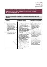 utkast till kriterier för anställningsbarhet. - Vård- och omsorgscollege