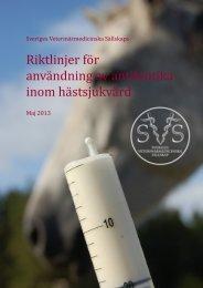 Riktlinjer för antibiotikaanvändning till häst (pdf) - SVA