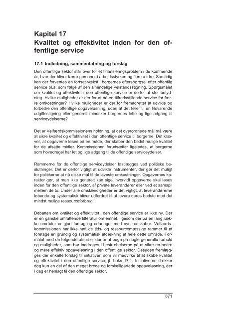 Kapitel 17 Kvalitet og effektivitet inden for den of ... - Finansministeriet