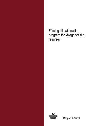 Förslag till nationellt program för växtgenetiska resurser. SJV ... - POM