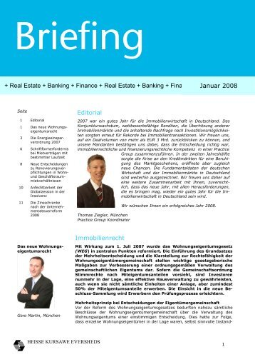 Editorial Immobilienrecht + Real Estate + Banking + Finance + Real ...