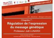Régulation de l'expression du message génétique - Faculté de ...