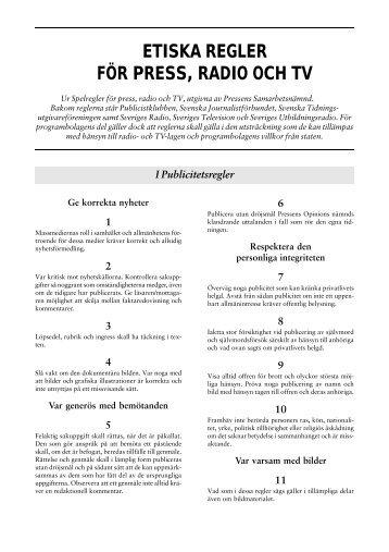 etiska regler för press, radio och tv - Coachutbildning Sverige