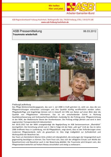 Rheinblick erhält erneut ein sehr gut - ASB Freiburg-Hochrhein