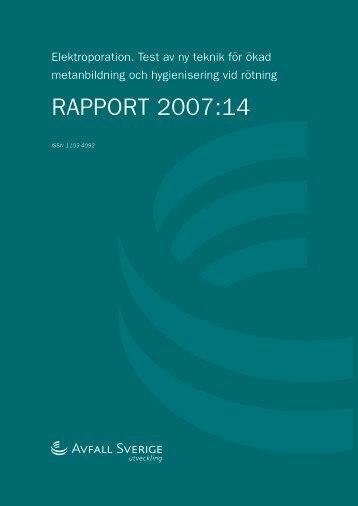 2007:14 Elektroporation. Test av ny teknik för ökad ... - Avfall Sverige
