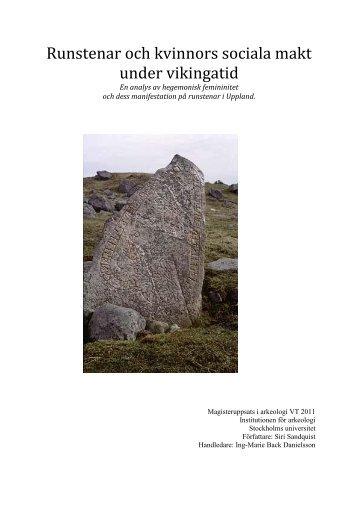 Runstenar och kvinnors sociala makt under vikingatid