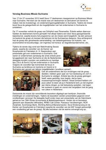 Verslag Business Missie Suriname - Seva Network Foundation