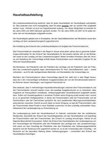 Haushaltsaufstellung - Finanzministerium NRW