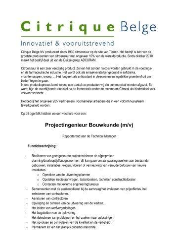 Projectingenieur Bouwkunde (m/v) - Citrique Belge