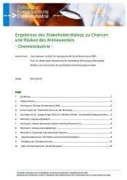 Ergebnisse des Dialogs zur Chemieindustrie - Kompetenzzentrum ...