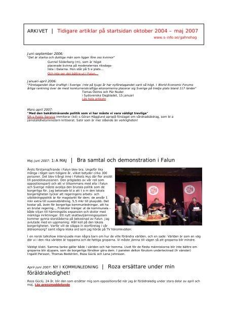Tidigare artiklar på startsidan – www - S-info