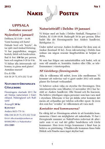 Nakisposten 1/2013 - Naturisten
