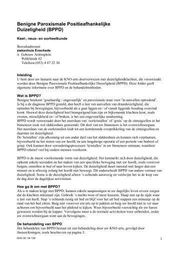 Benigne Paroxismale Positieafhankelijke Duizeligheid (BPPD)