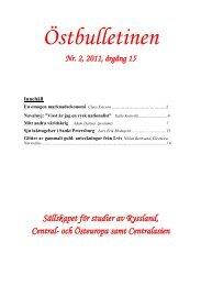 Nr 2, juni 2011 - Sällskapet för studier av Ryssland, Central