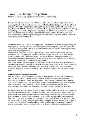 Teori U – erfaringer fra praksis - Hornstrup Kursuscenter