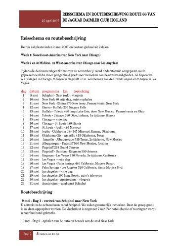 Reisschema en routebeschrijving Rote 66 van de Ja - ACT!