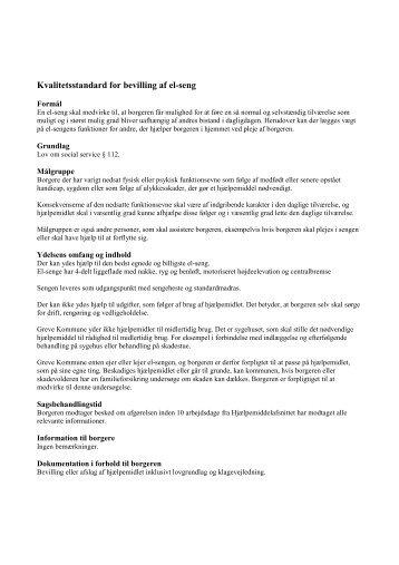Kvalitetsstandard for bevilling af el-seng - Greve Kommune