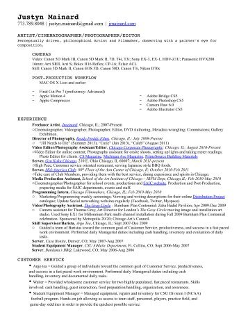 Resume of Justyn Mainard (2013)