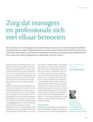 Zorg dat managers en professionals zich met elkaar bemoeien - Sioo