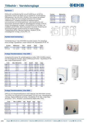 Tillbehör - Varvtalsreglage EKB-Produkter AB 2010