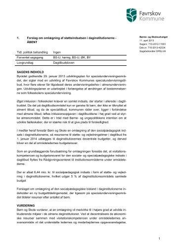 Forslaget fra udvalgsdagsordenen - Favrskov Kommune