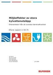 Miljöeffekter av stora kylvattenutsläpp, Elforsk rapport nr ... - Vattenfall