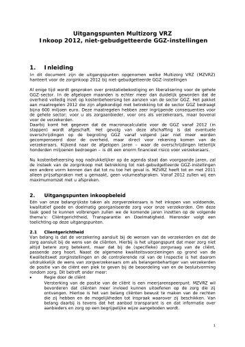 Inkoopbeleid niet-gebudgetteerde GGZ-instellingen - Dsw