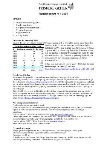 Saneringsnytt nr 1-2005 Innhald